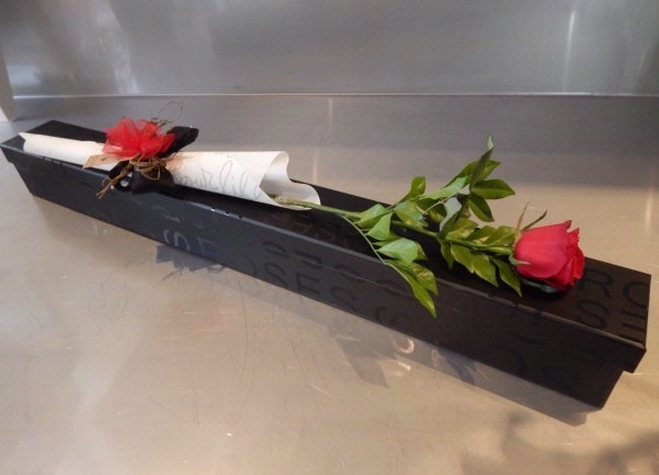 Single rose in a presentation box