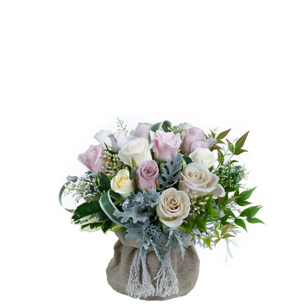 Hessian Bag Rose Posy